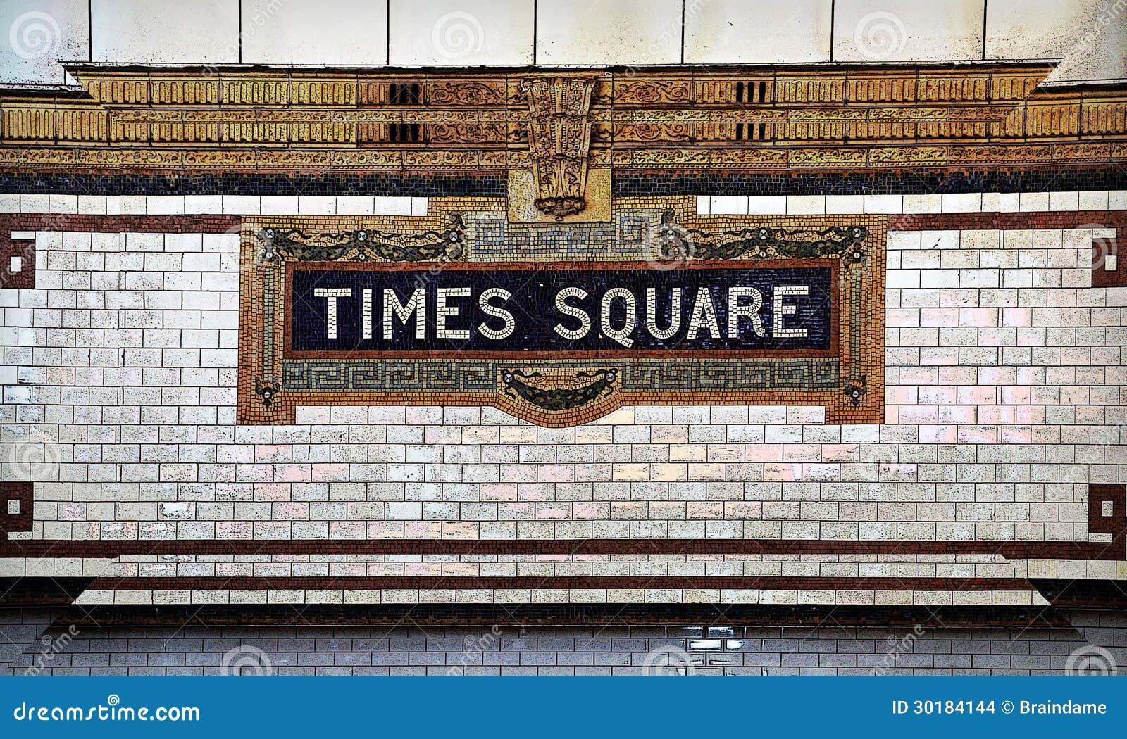 Times Square Tafluje mozaiki metra znaka