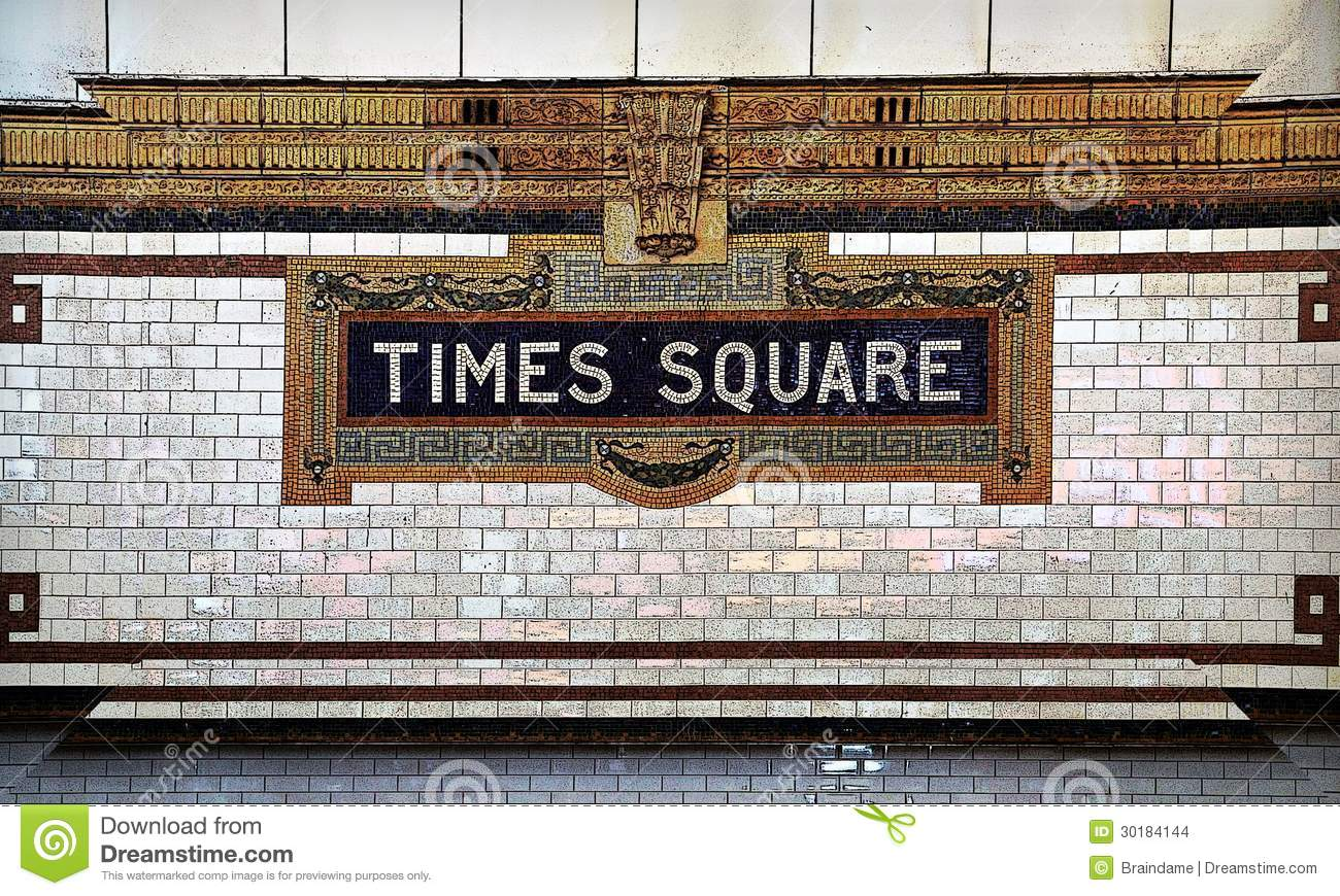 Times Square Tile Mosaic Subway Sign Stock Images Image 30184144