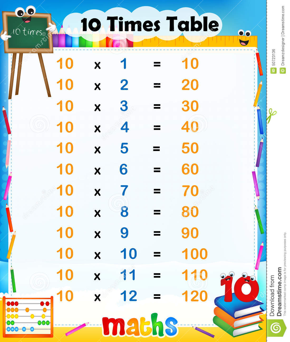 10 times table stock vector image of subtraction back 50723136 10 times table gamestrikefo Gallery