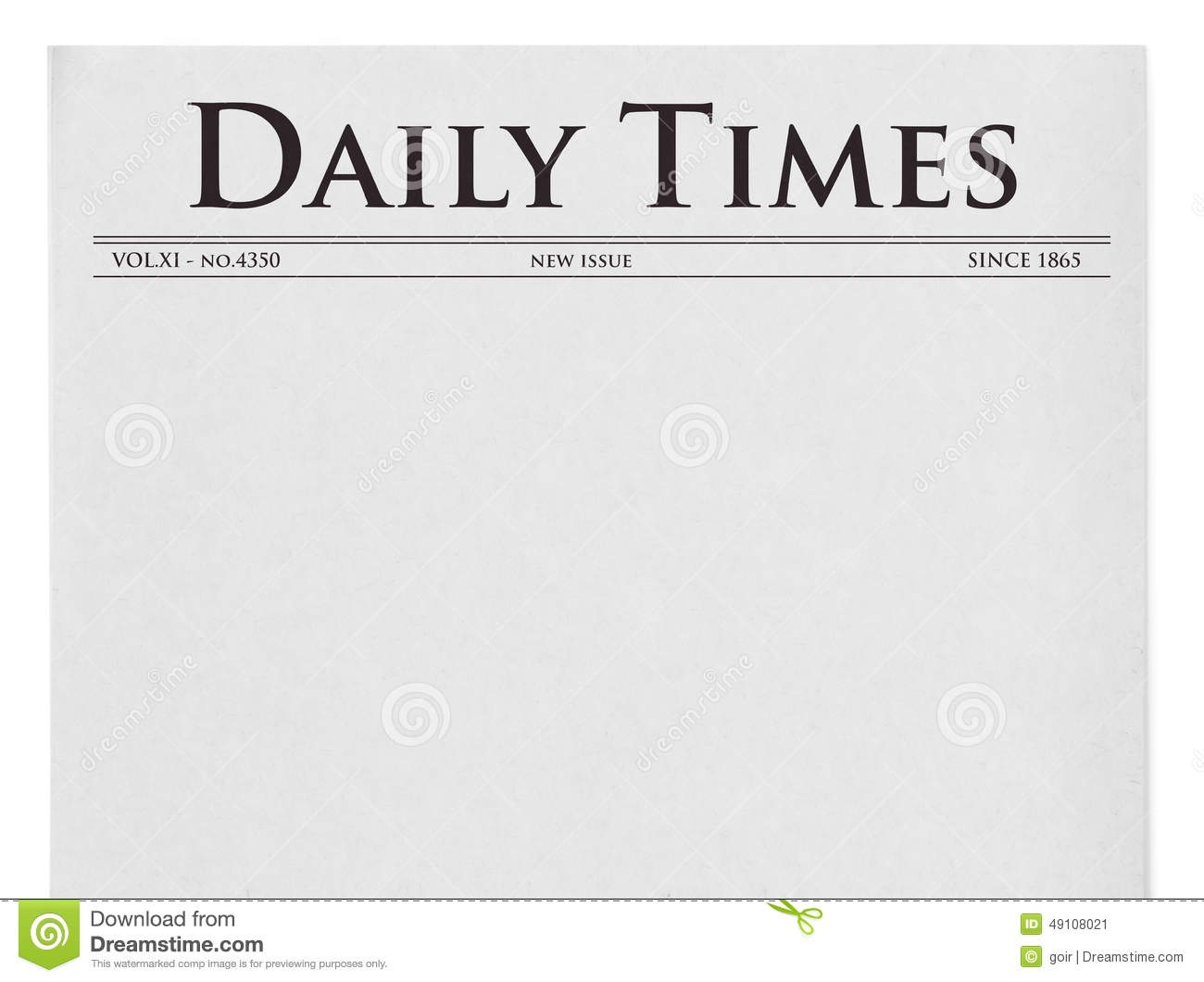 daily times title on newspaper stock illustration
