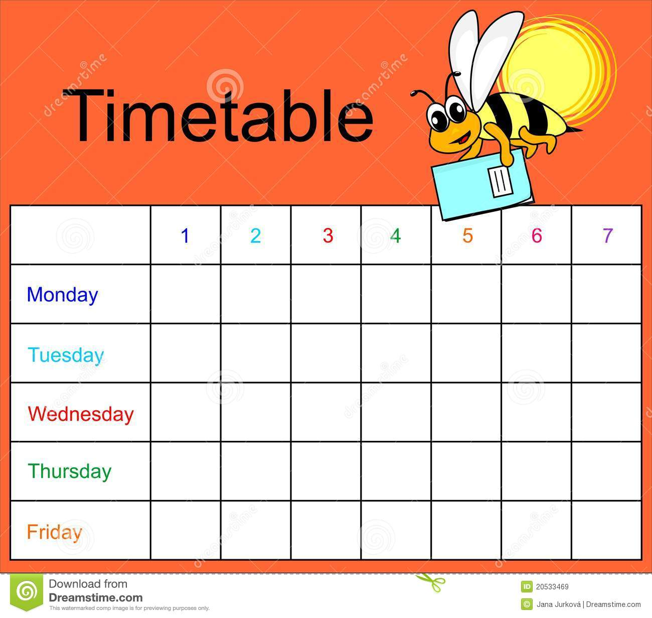 Quotes On School Time Table: Timetable Stock Vector. Illustration Of Meadow, Animal