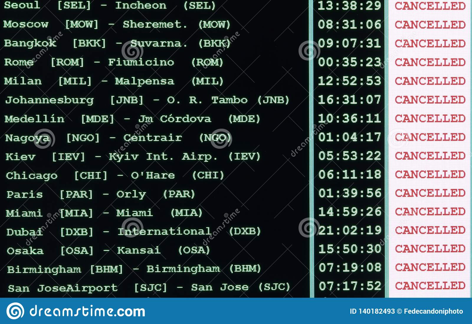 timetable of the airport with all flights canceled