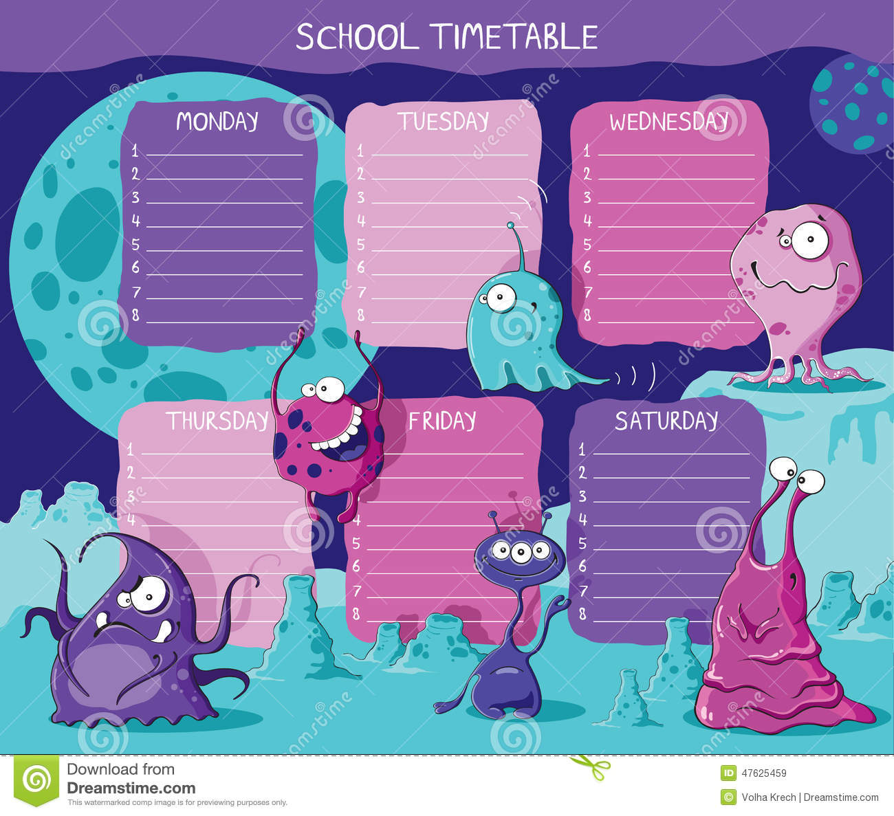 Quotes On School Time Table: Timetable Cartoons, Illustrations & Vector Stock Images