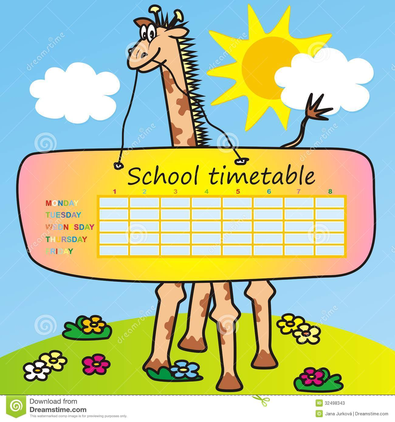 Timetablegiraffe Photos Image 32498343 – School Time Table Designs