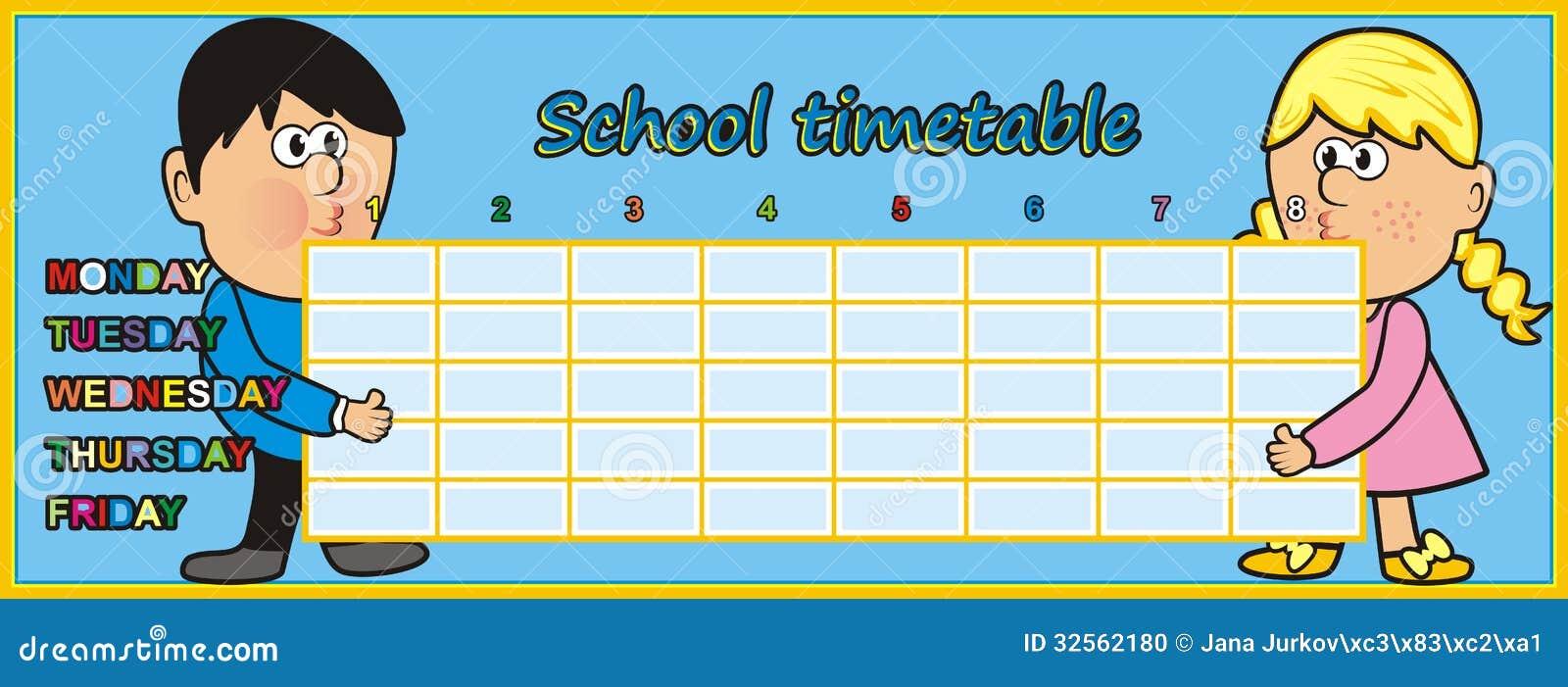 Resultado de imagen de timetable for kids