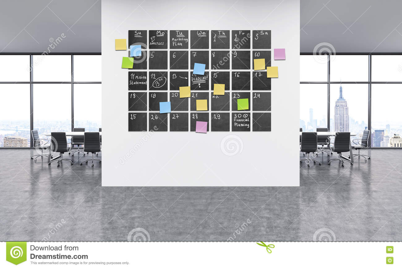 Timetable In Office Stock Illustration - Image: 75710943