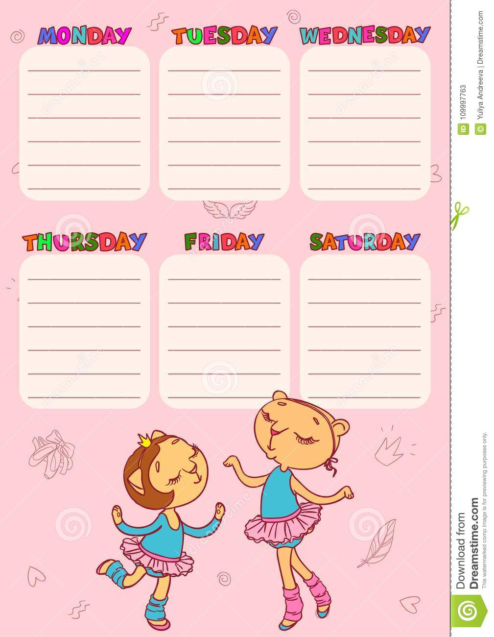 Timetable For School With Cute Cat Girls Vector Printable Template