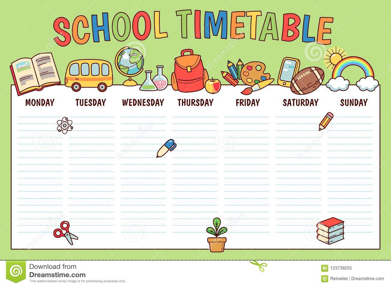 timetable for school stock vector  illustration of outline