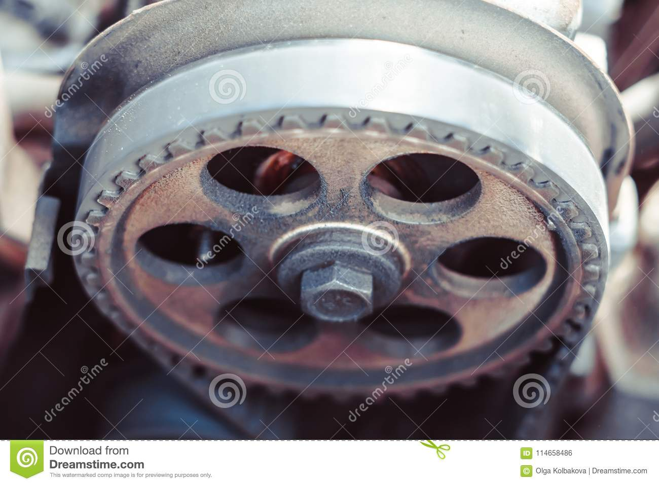 The Timing Belt On Car Stock Photo Image Of Generator 114658486 A