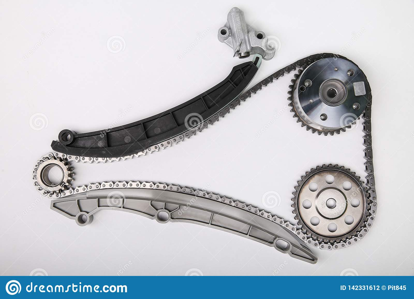 Timing chain kit and timing chain tensioner