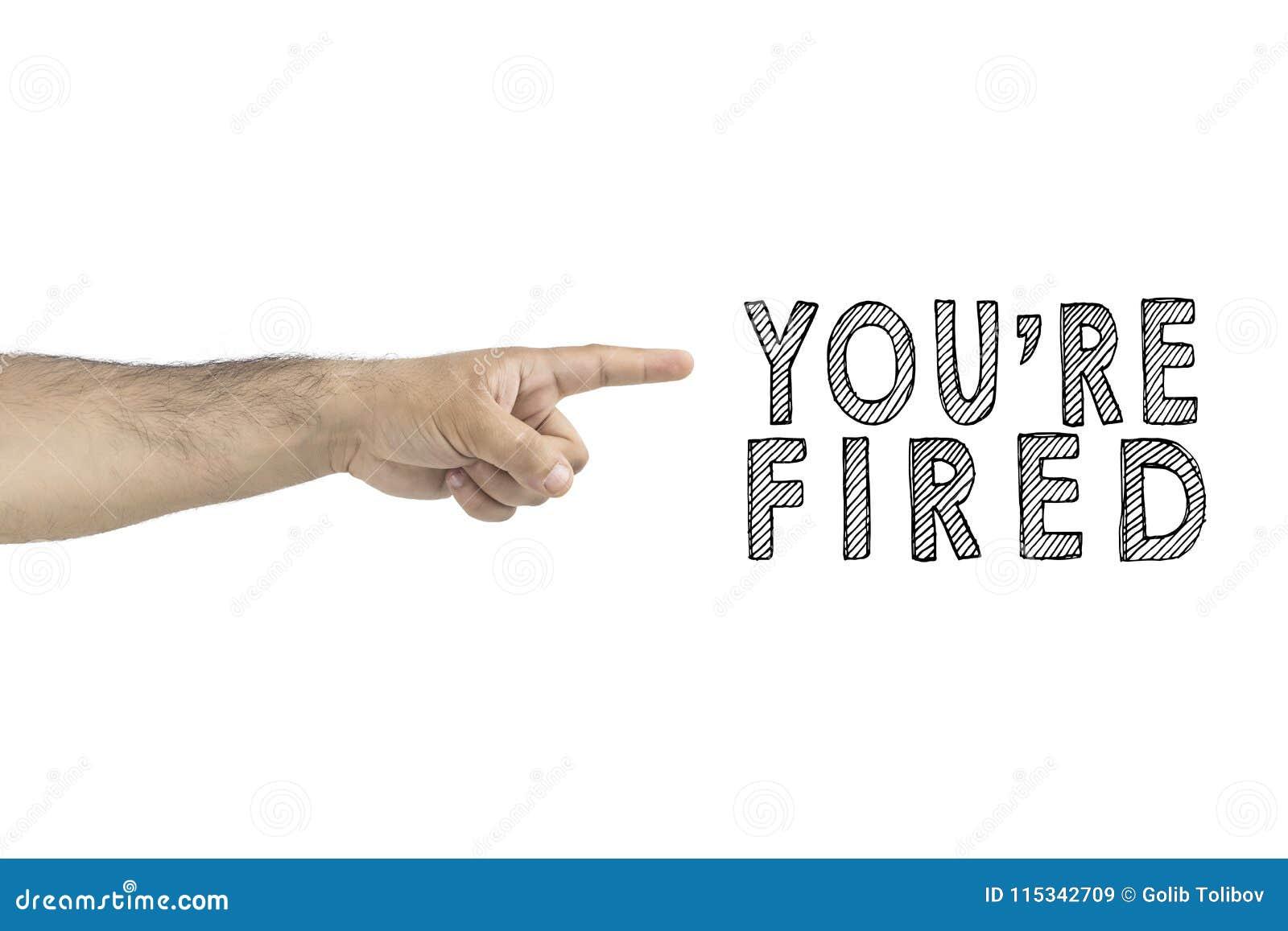 Timme affär, begrepp aktiverat dig framstickande som gör en gest utfarthandtecknet med pekfingret AFFÄRSMAN AVFYRAD ANSTÄLLD