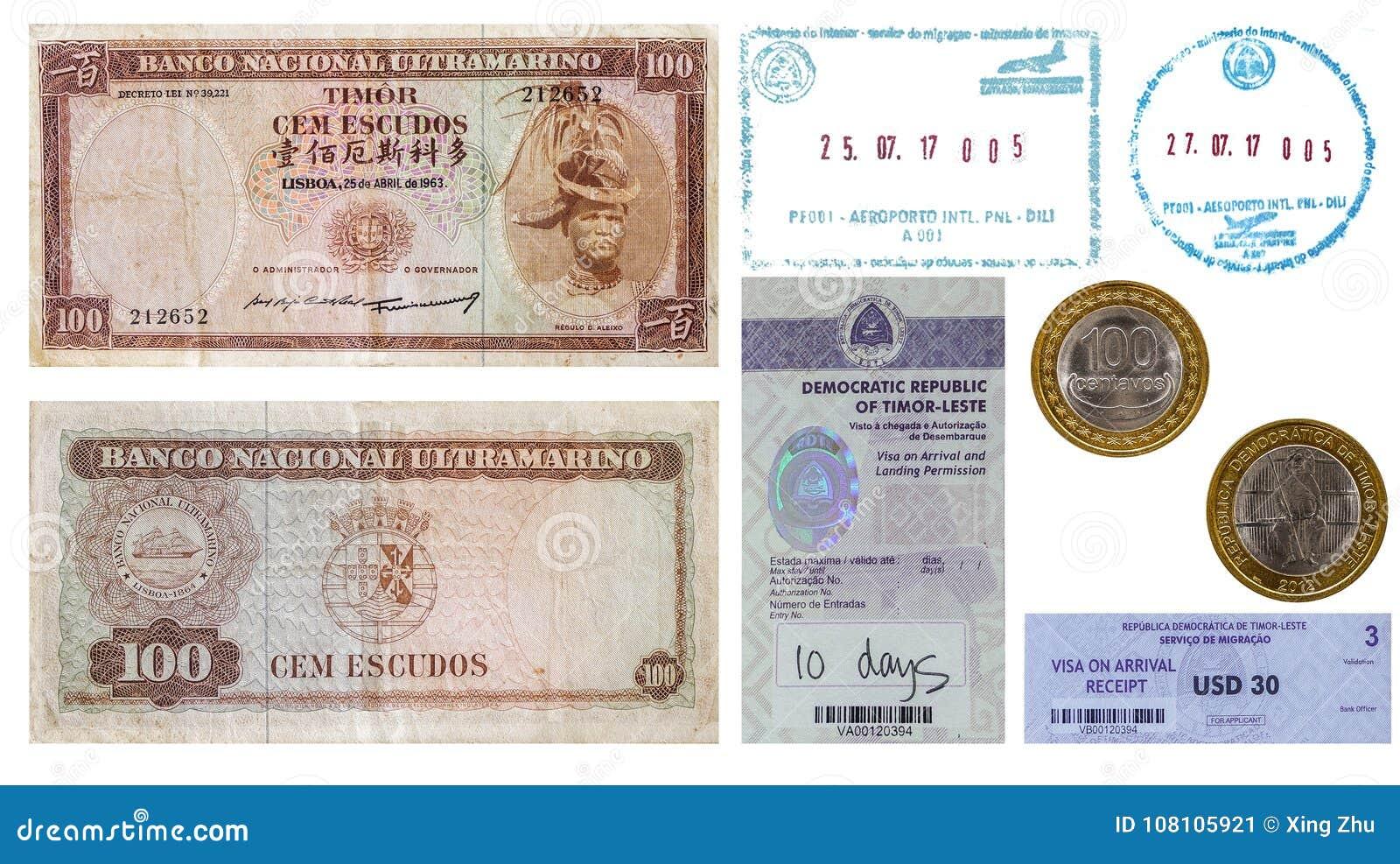 Aeroporto Dili : Timor leste money and visa stamp stock image image of sample note