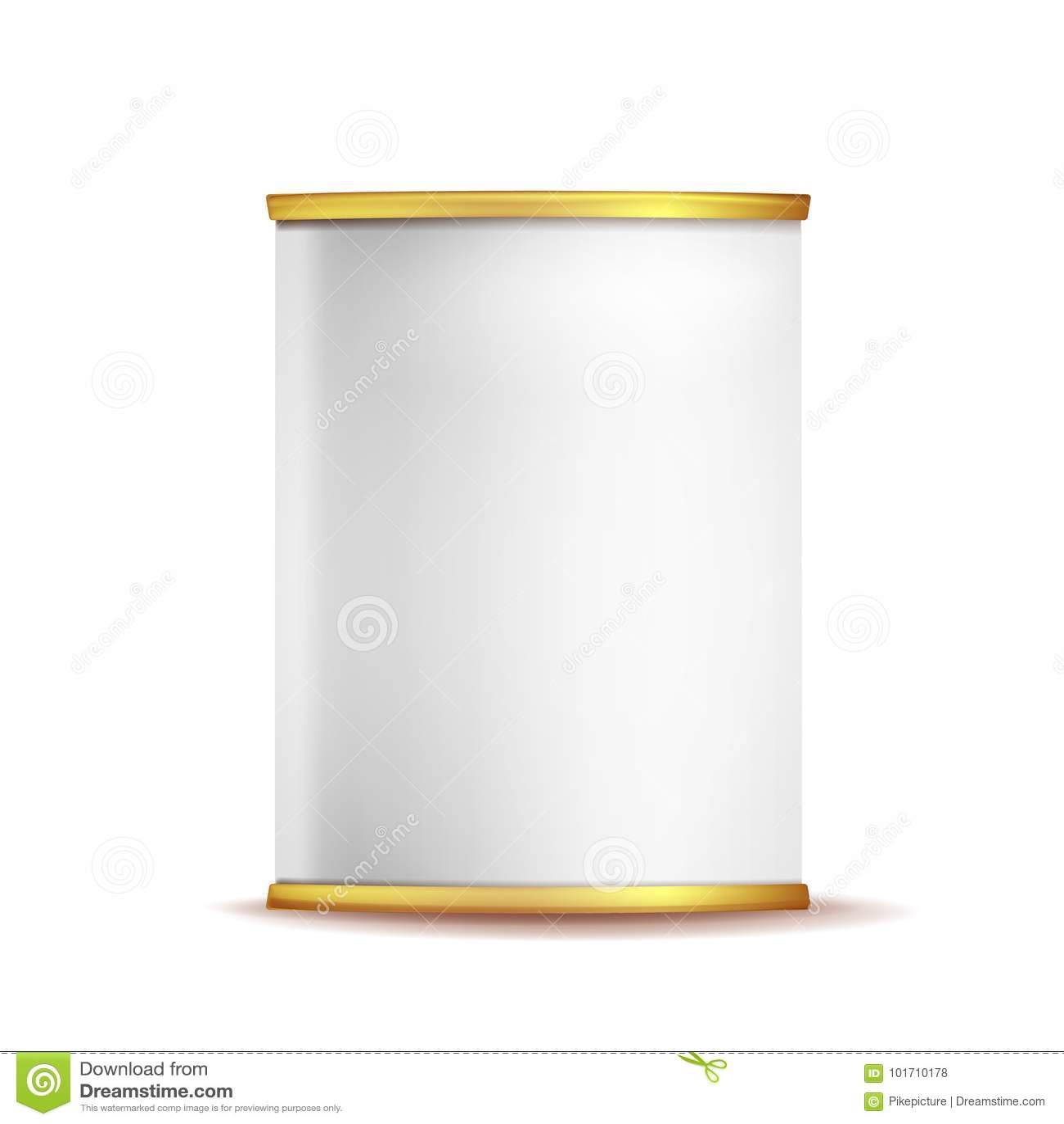 Tin Box Can Template Vector espacio en blanco de empaquetado vacío realista del envase 3d Envase de comida Aislado en el fondo bl