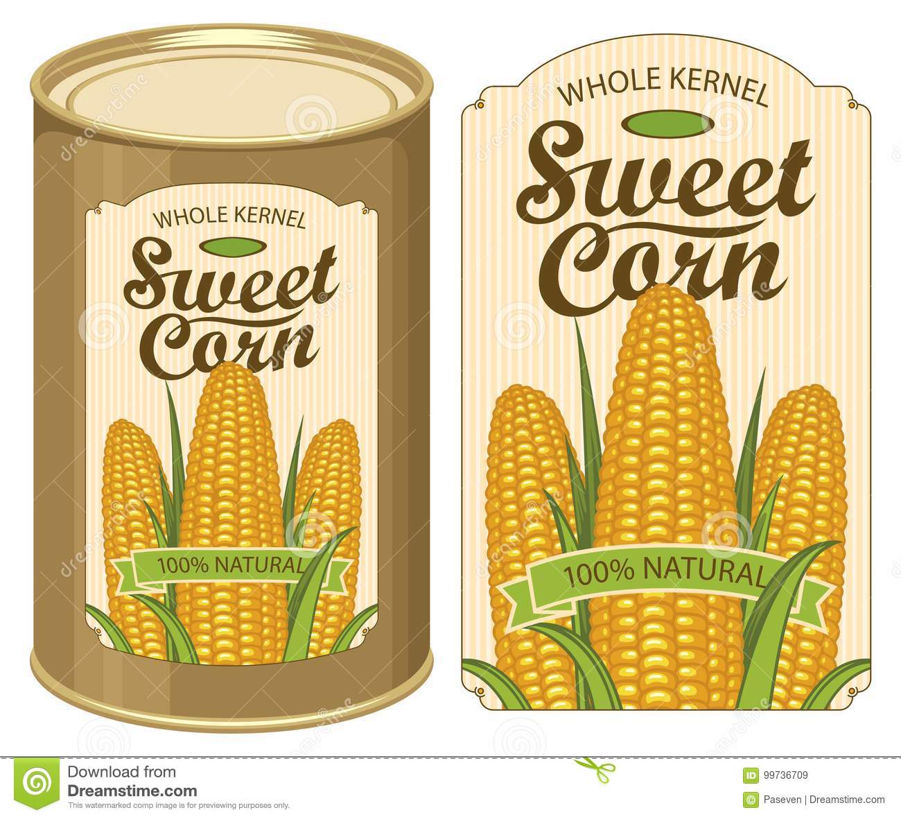 tin can label for canned sweet corn with the cobs stock vector
