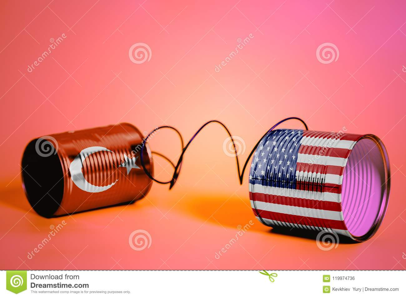 Tin can phone with USA and Turkish Flags.communication concept