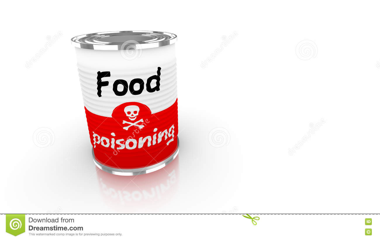 Tin can with red and white food poisioning label