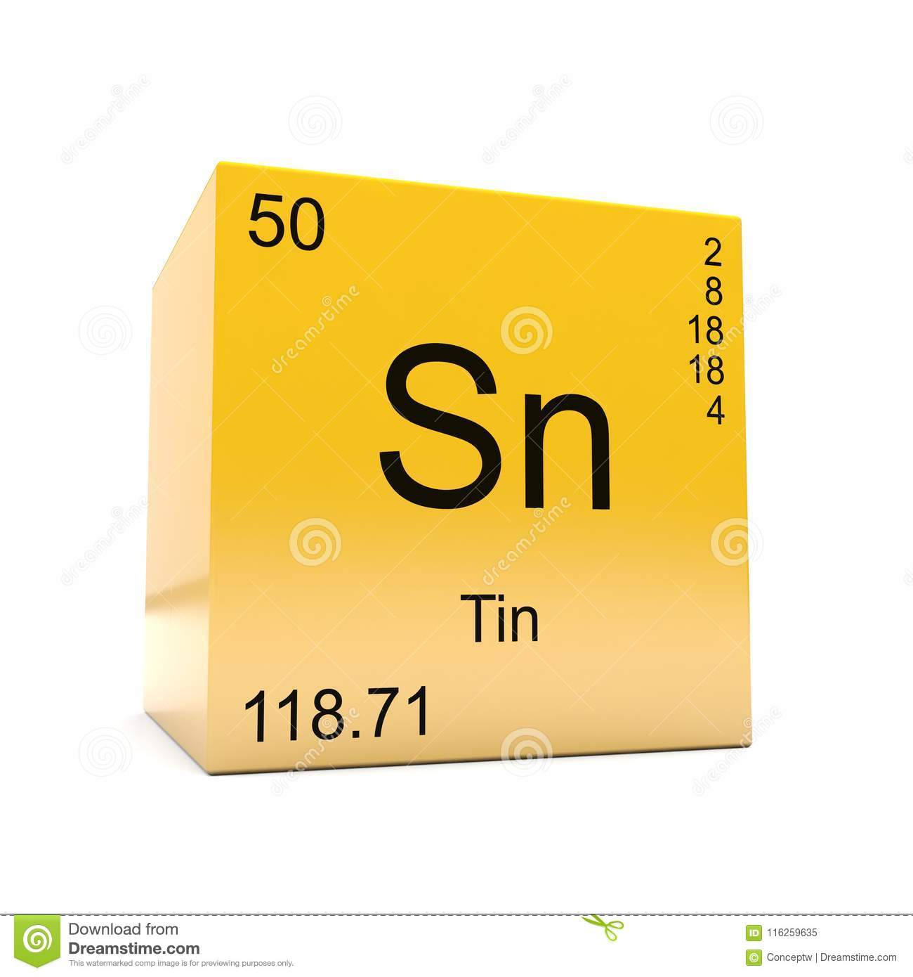 Tin Chemical Element Symbol From Periodic Table Stock Illustration