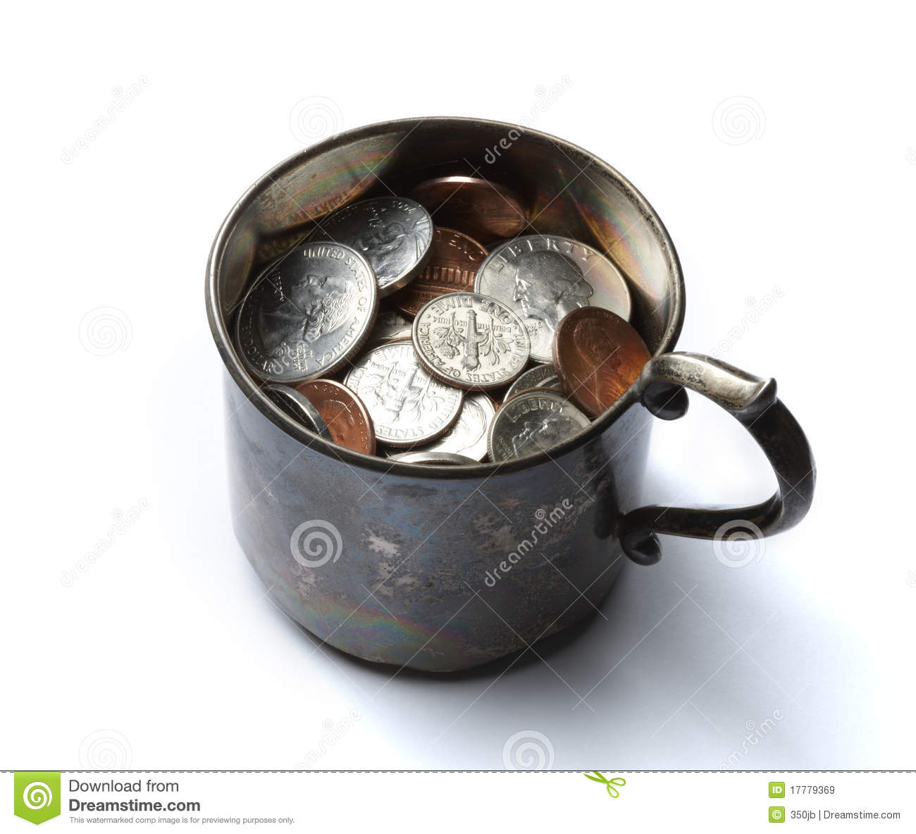 Tin Cup With Money Royalty Free Stock Images Image 17779369
