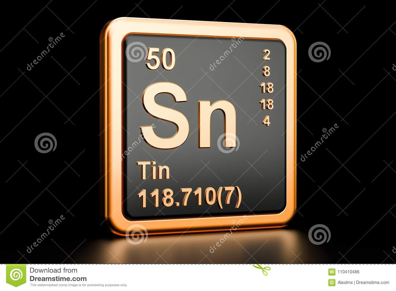 Tin Stannum Sn Chemical Element 3d Rendering Stock Illustration