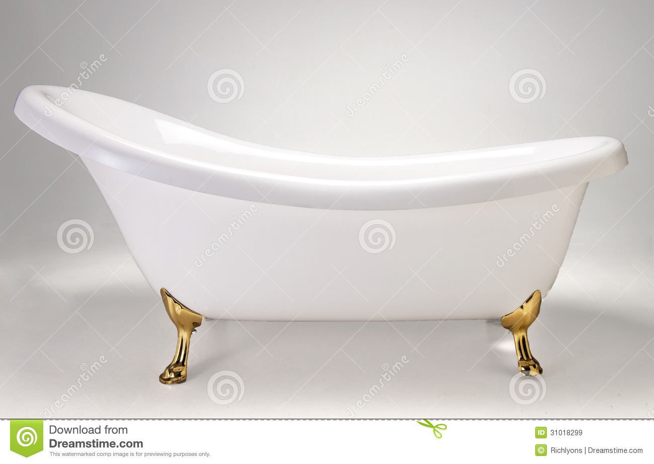 Baño De Tina Con Eucalipto:Picture of a White Old-Style Bath Tub