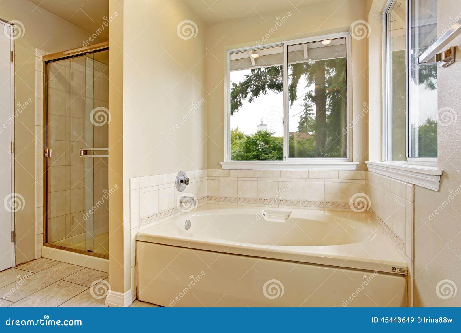Tina de ba o con las ventanas imagen de archivo imagen for Banos con ducha y tina