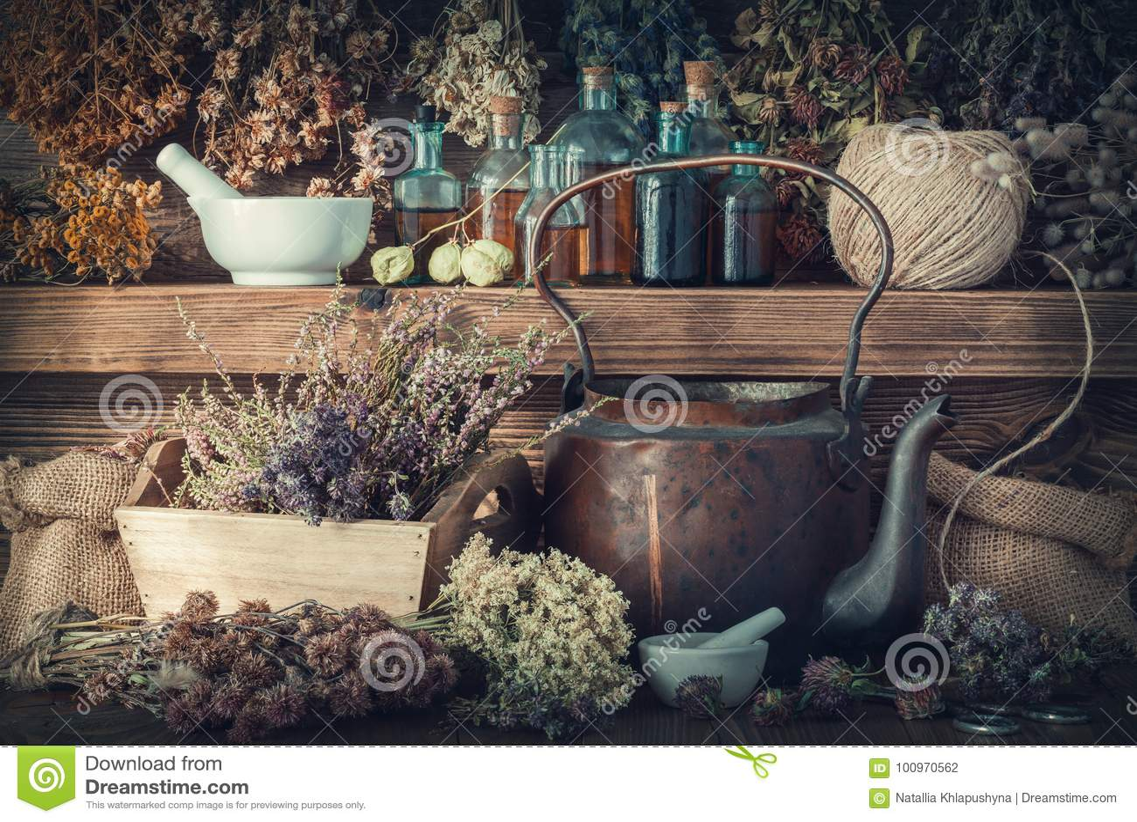Tincture bottles, healthy herbs, mortar, curative drugs, old tea kettle on wooden shelf.