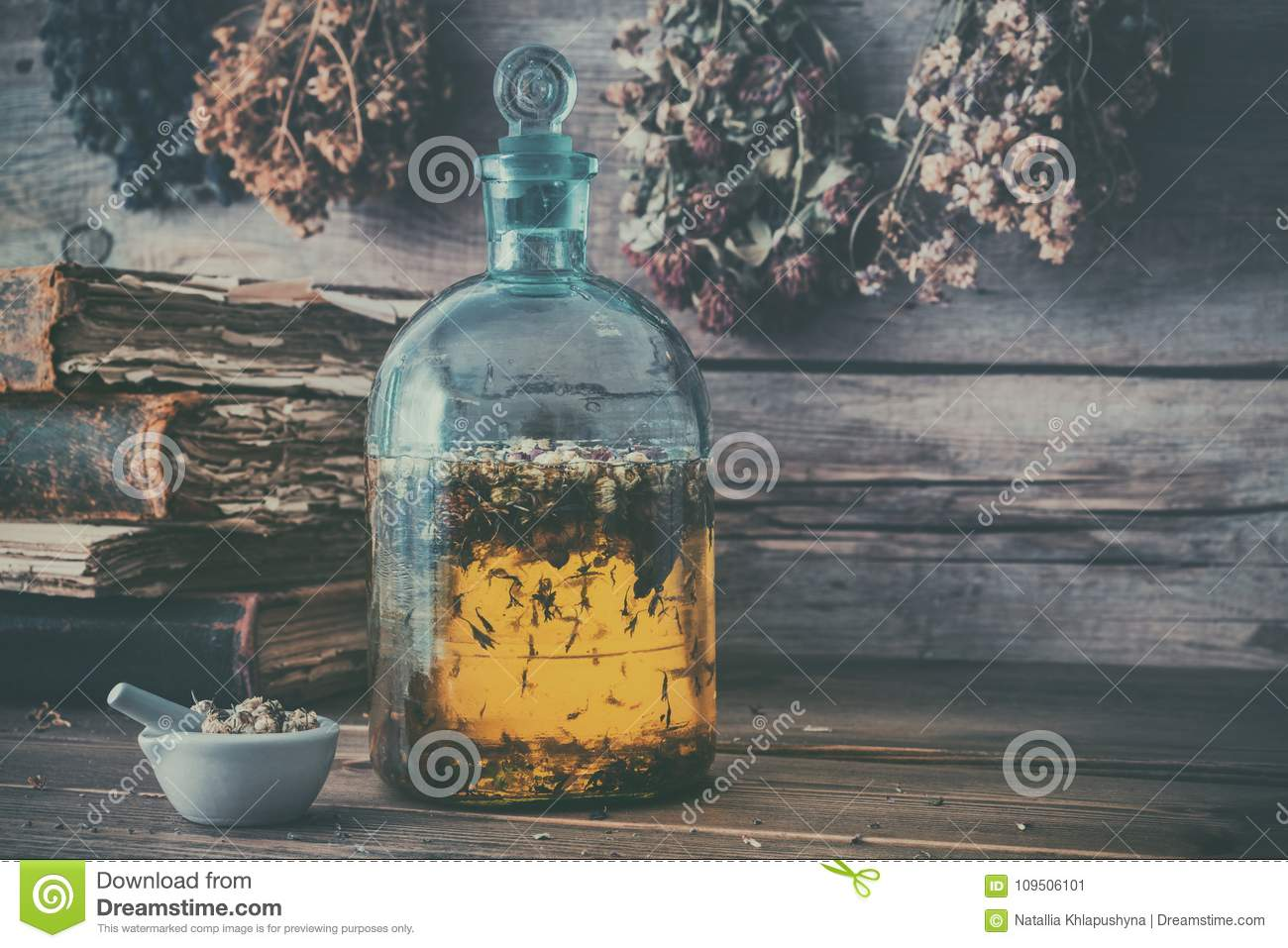 Tincture Or Potion Bottle, Old Books, Mortar And Hanging
