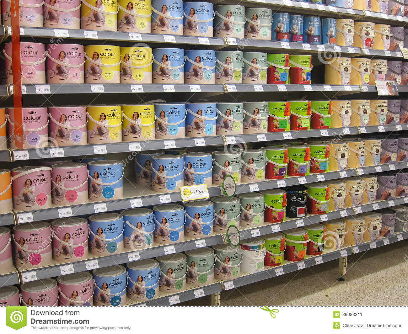 Tins of paint in a diy store editorial photo image for Homedepot colorsmartbybehr com paintstore
