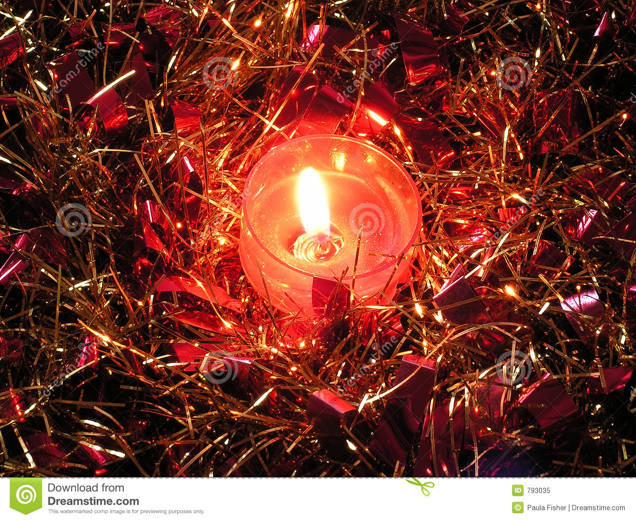 Tinsel With Candle.