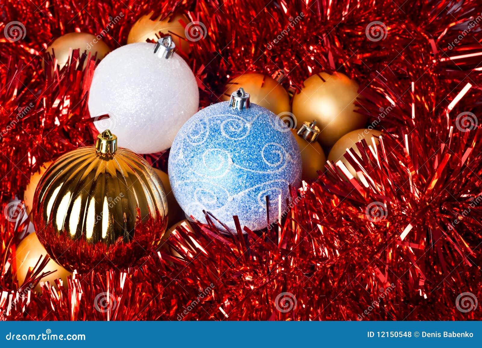 Tinsel and christmas balls royalty free stock photos