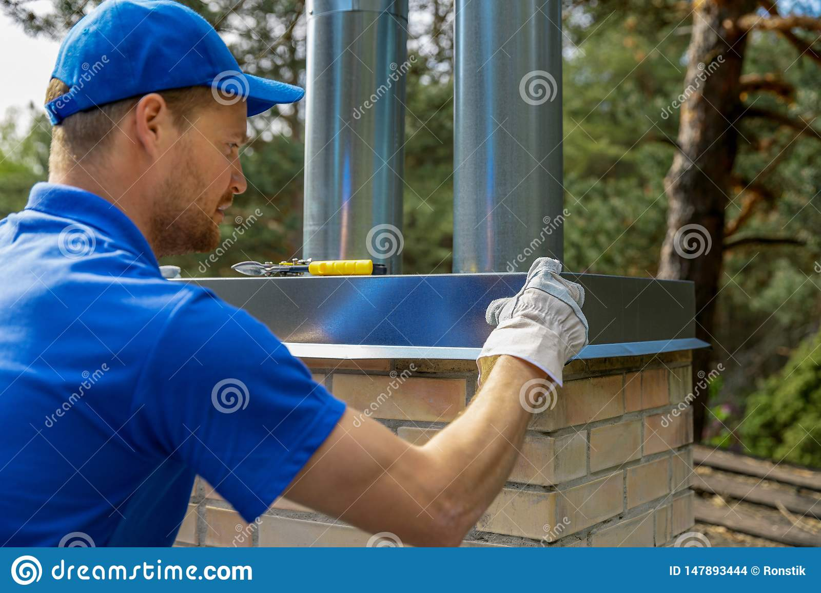 Tinsmith On The Roof Installing Tin Cap On The Brick Chimney Stock Photo Image Of Building Steam 147893444