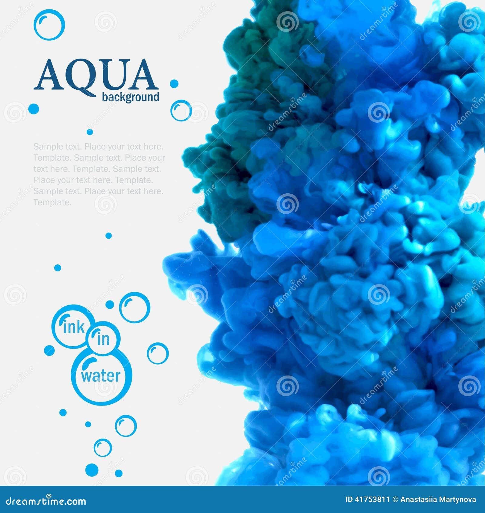 Tinta azul de la aguamarina en plantilla del agua con las burbujas