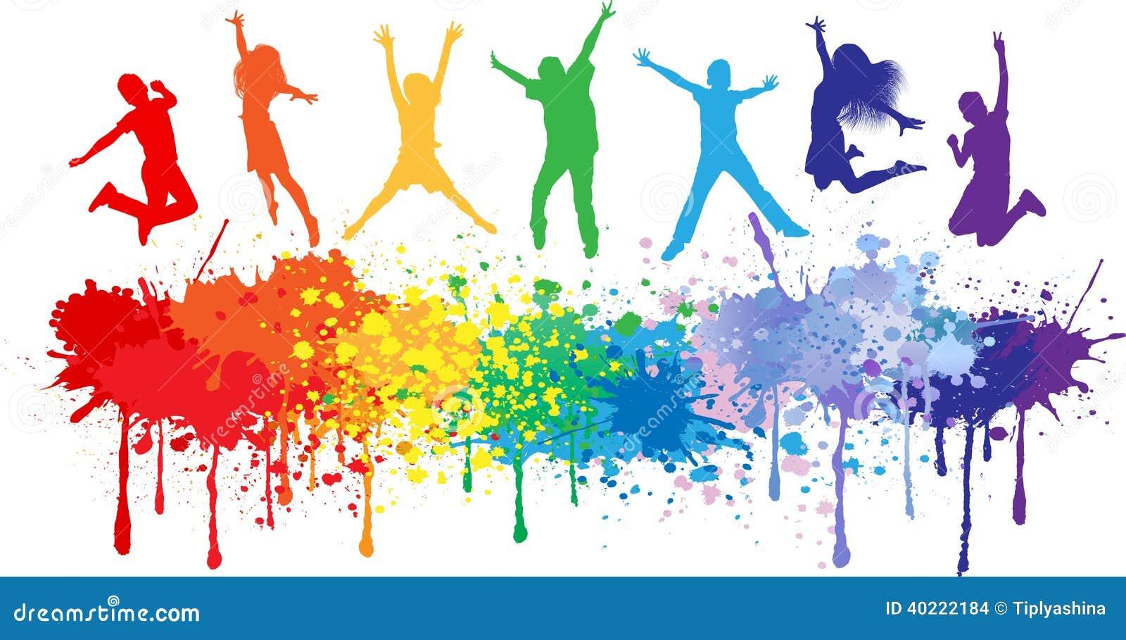 A tinta brilhante colorida espirra e caçoa o salto