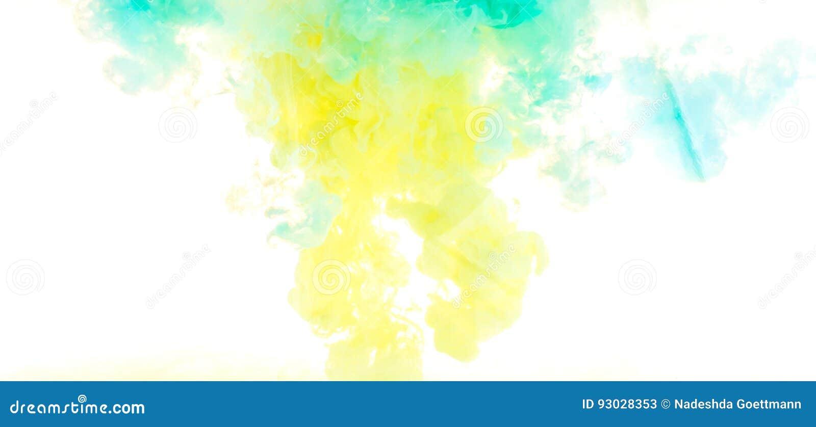 Tinta Cores acrílicas amarelas, azuis, e verdes Tinta que roda na água Explosão da cor
