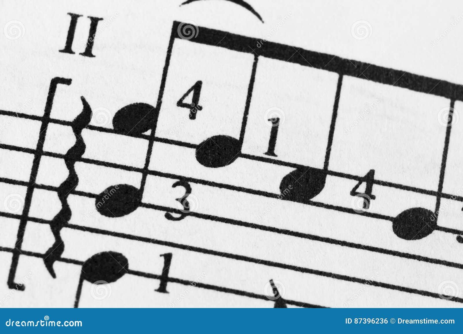 Tinta Del Papel De La Hoja De Las Notas Que Aprende Conducta Baja De La Cuenta De Orquesta De La Flauta Del Oboe Del Violoncelo D Foto De Archivo Imagen De