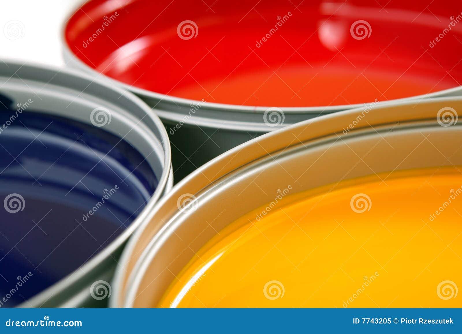 Tintas da imprensa de impressão, ciano, magentas, amarelo