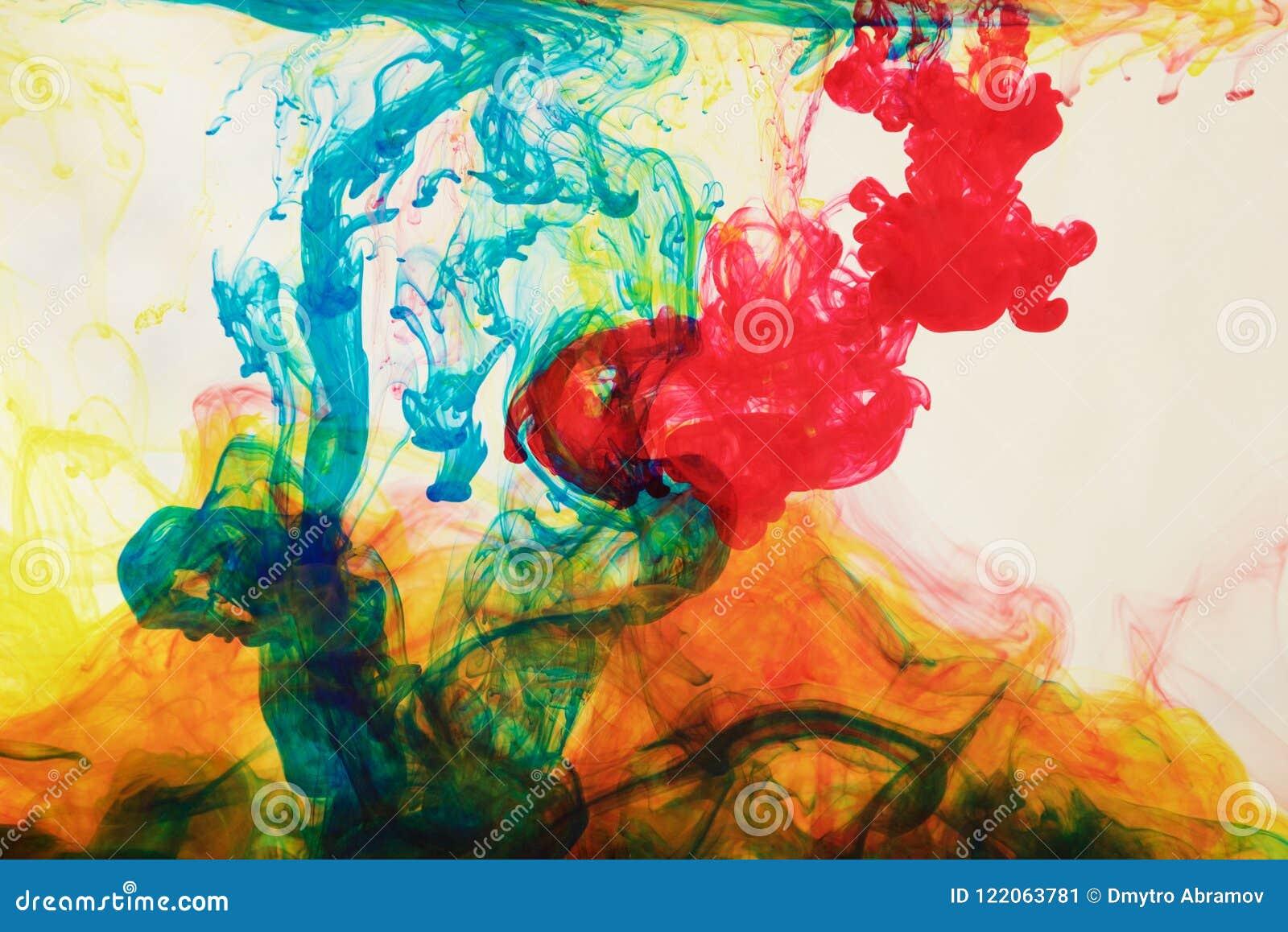Tinten im Wasser, Farbabstraktion, Farbexplosion