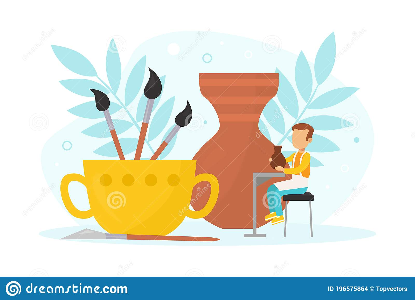 Tiny Boy Making Pot With Clay Pottery And Ceramics Creative Children Education Vector Illustration Stock Vector Illustration Of Crafting Crockery 196575864