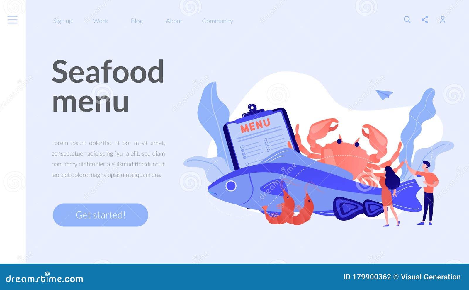 Seafood Menu Concept Landing Page ...