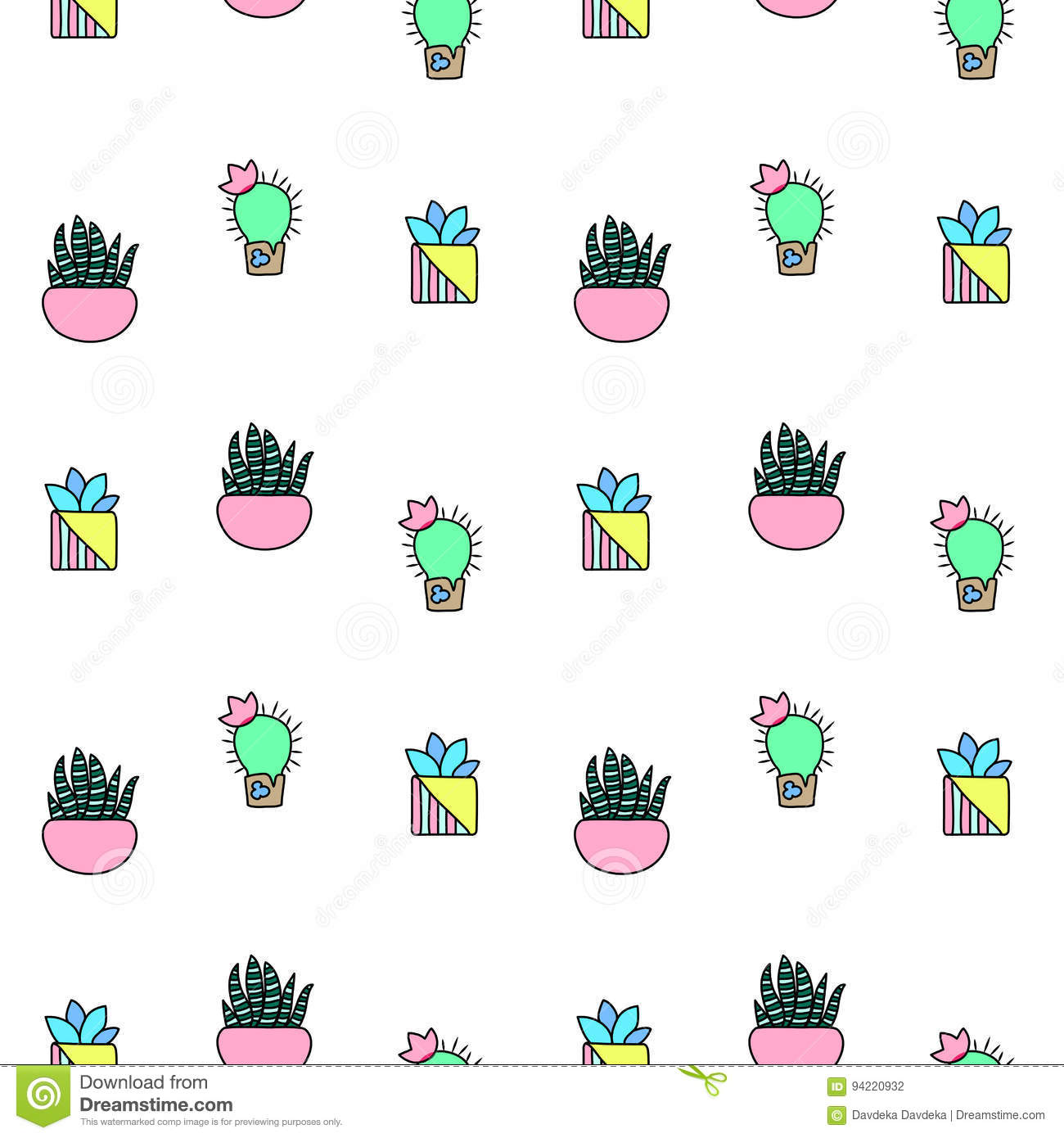 Download Tiny Cactus And Succulent  Seamless Pattern. Green Plants Pattern Tile. Stock Illustration - Illustration of decoration, mexican: 94220932
