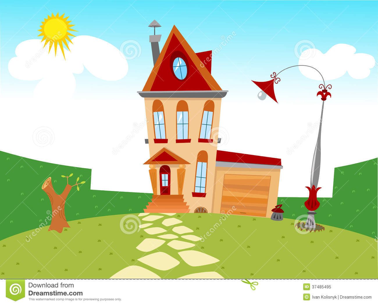 Free Tiny Home Plans Tiny Cartoon House Stock Vector Illustration Of Scene