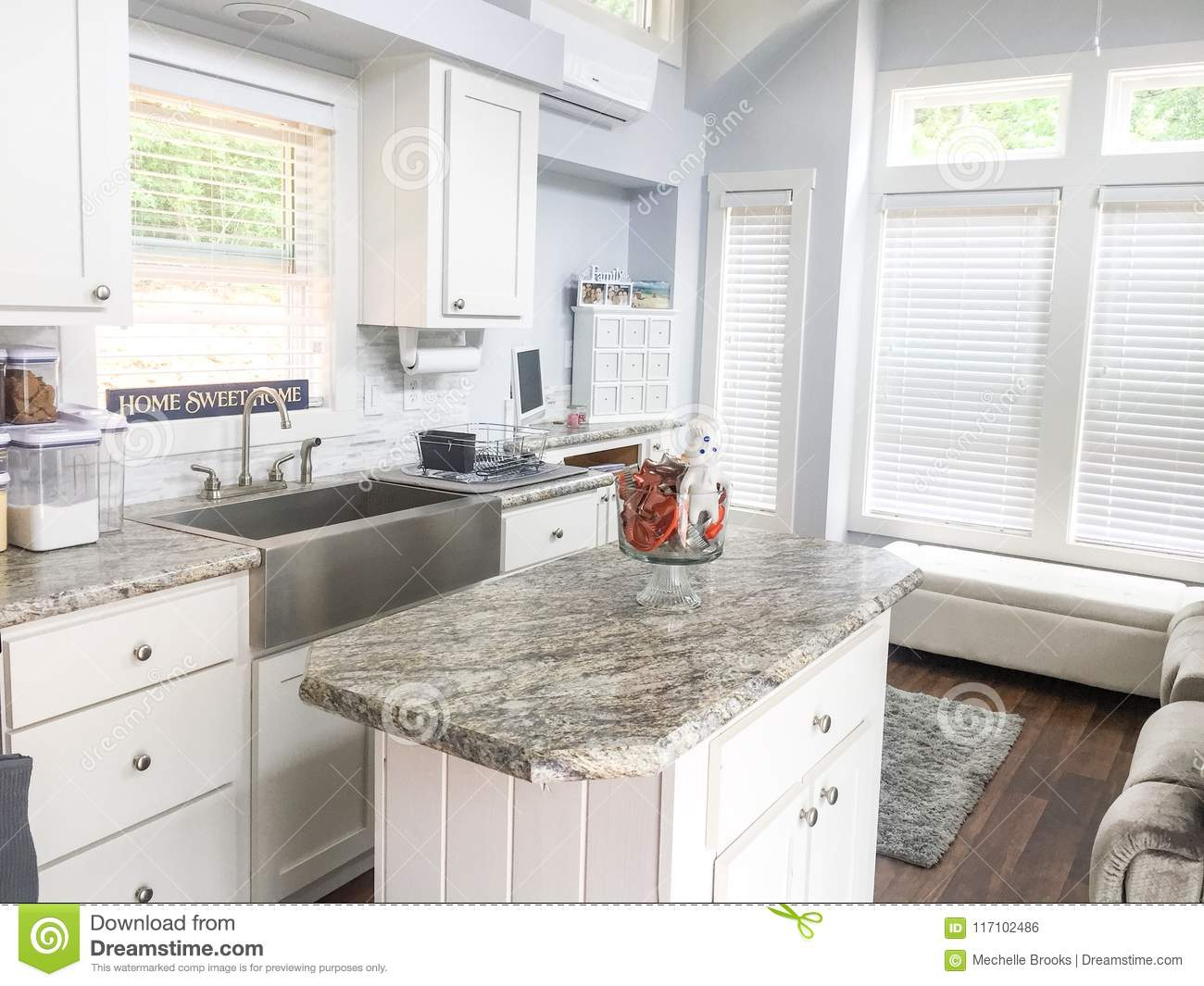 Tiny House Living And Kitchen Area Stock Photo Image Of Living