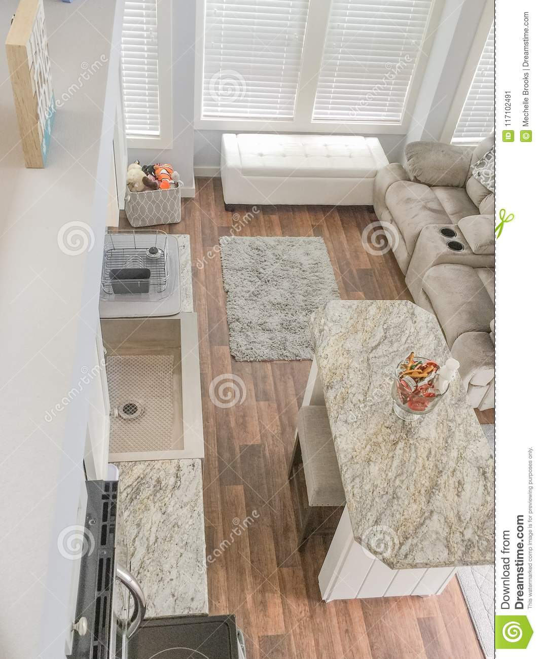 Tiny House Living And Kitchen Area Stock Image Image Of