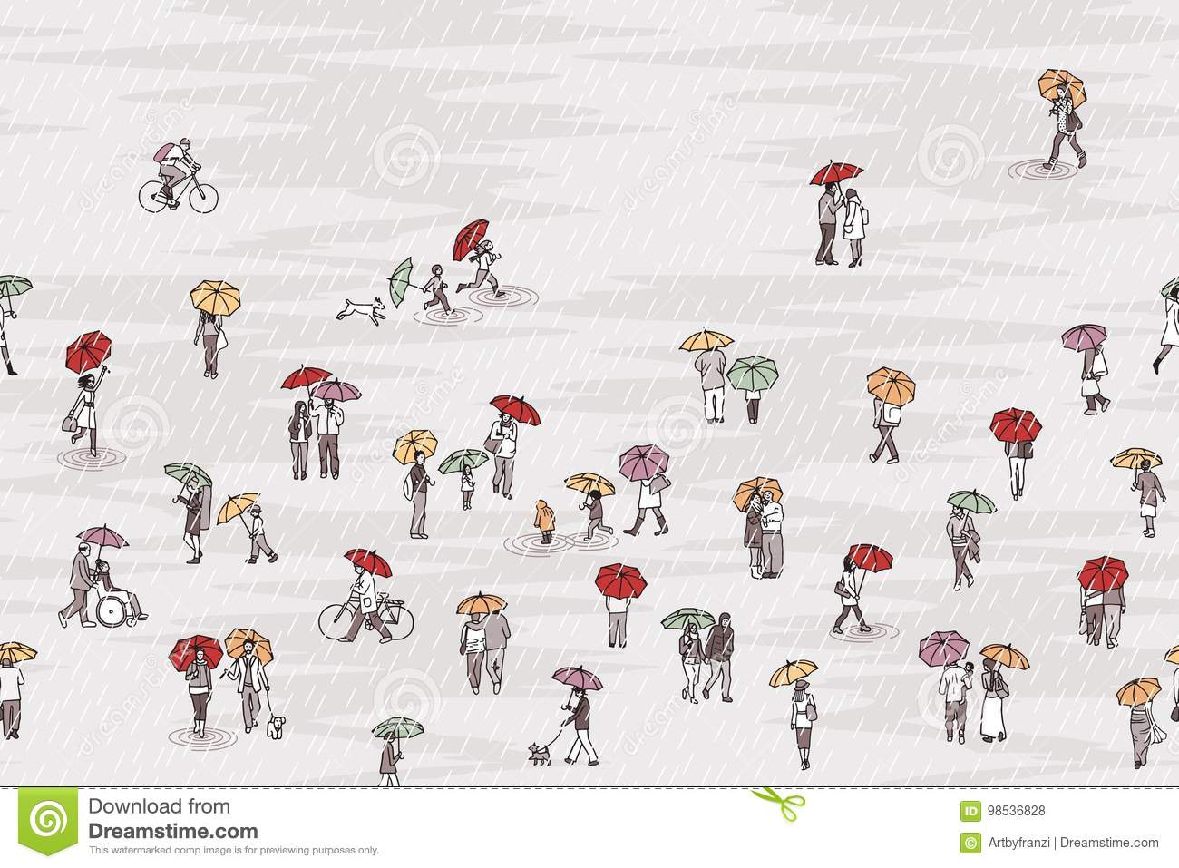 Tiny people with colorful umbrellas