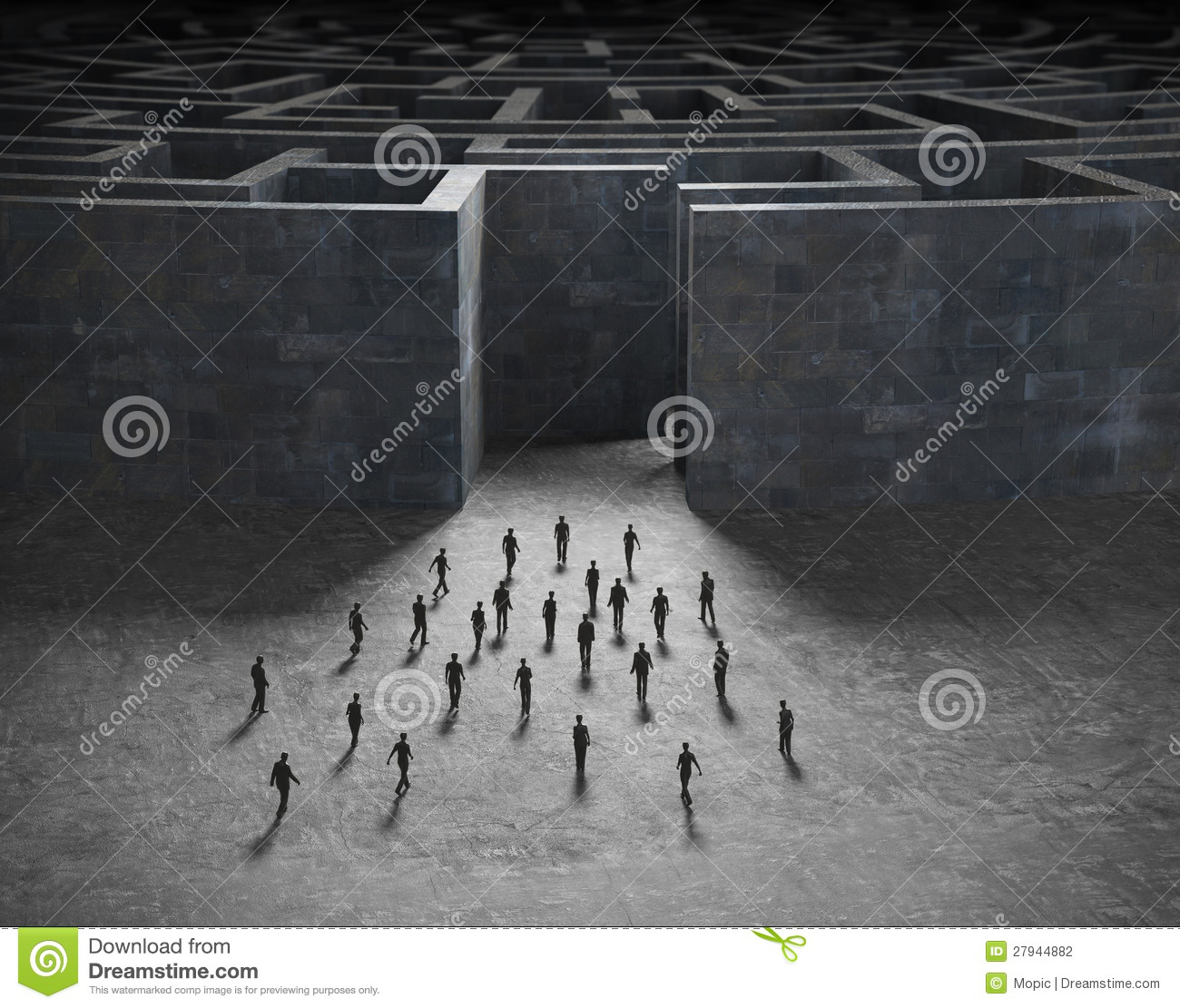 Tiny people entering a maze