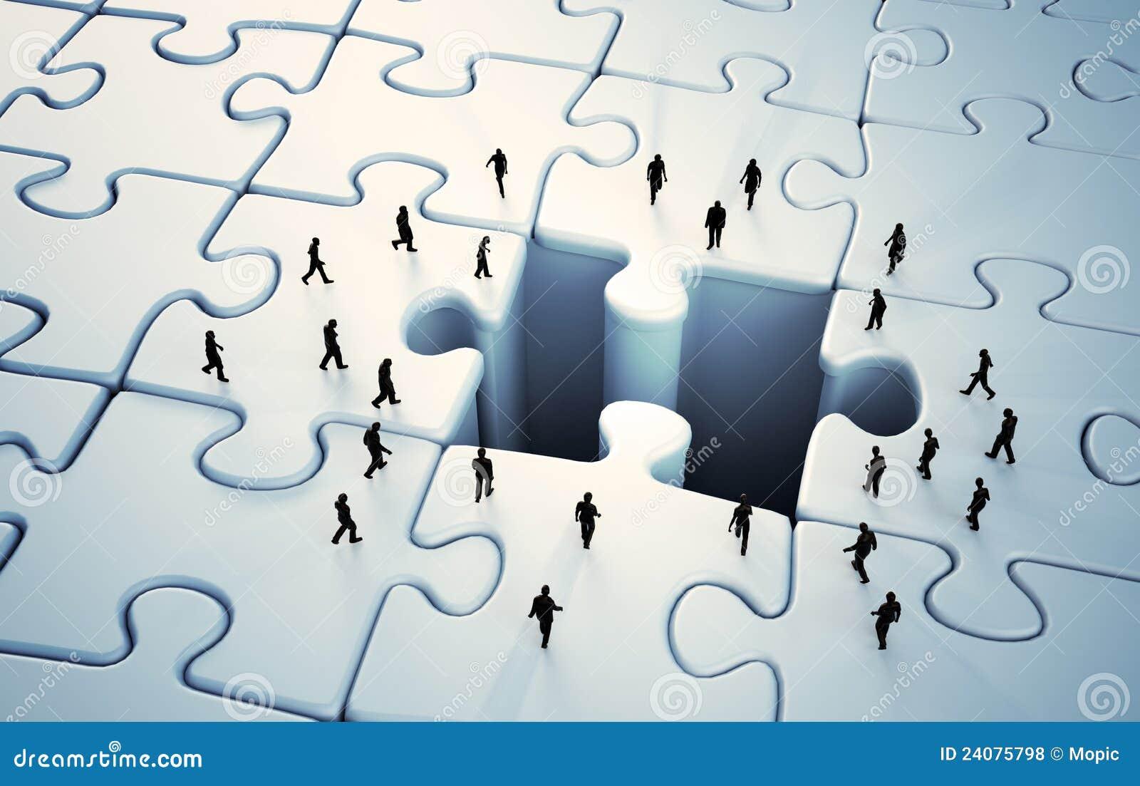 Tiny People Jigsaw Puzzle Stock Illustration Image Of