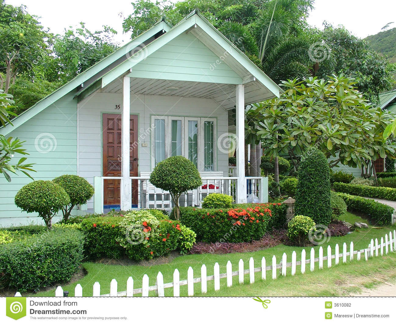 Tiny White Cottage Stock Photo Image Of Complex Bungalow
