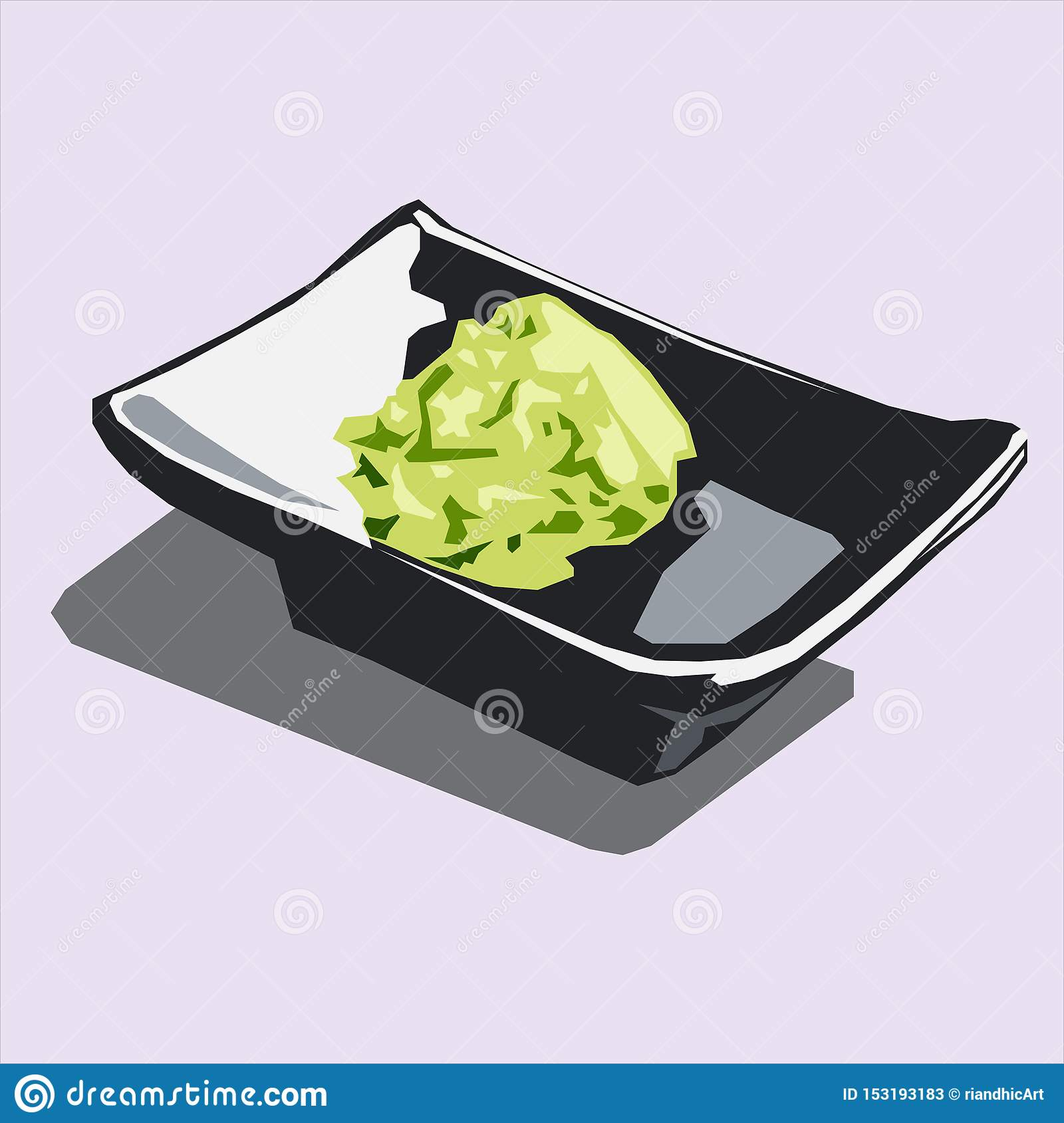 Wasabi on black plate icon logo avatar