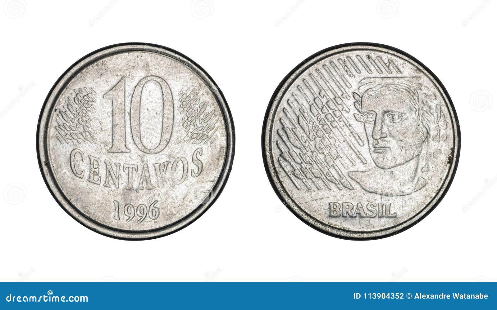 Tio cent brasilianska verkliga mynt-, framdel- och baksidaframsidor - gamla mynt