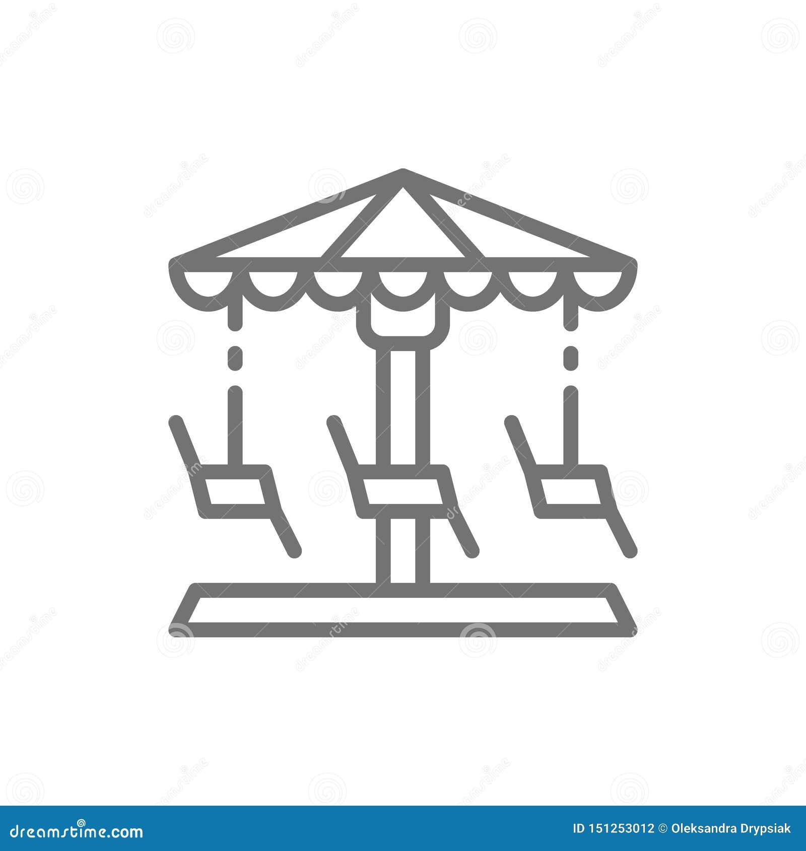 Tiovivo, carrusel, línea de oscilación icono